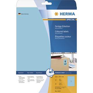 Herma 4423 blau Universal-Etiketten 21.0x29.7 cm (20 Blatt (20
