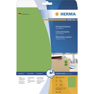 Herma 4424 grün Universal-Etiketten 21.0x29.7 cm (20 Blatt (20 Etiketten))