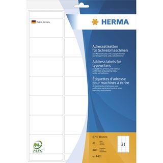 Herma 4431 Adressetiketten für Schreibmaschinen 6.7x3.8 cm (20