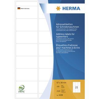 Herma 4438 Adressetiketten für Schreibmaschinen 6.7x3.8 cm (100 Blatt (2100 Etiketten))