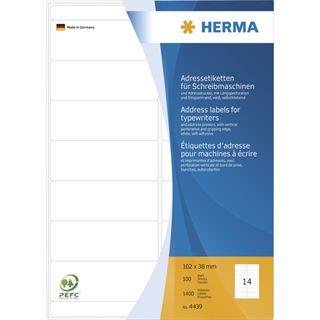 Herma 4439 Adressetiketten für Schreibmaschinen 10.2x3.8 cm (100 Blatt (1400 Etiketten))