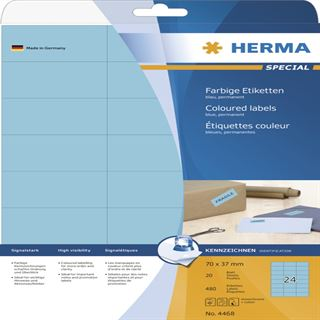 Herma 4468 blau Universal-Etiketten 7.0x3.7 cm (20 Blatt (480