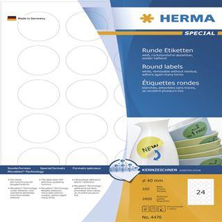 Herma 4476 rund ablösbar Universal-Etiketten 4x4 cm (100 Blatt (2400 Etiketten))