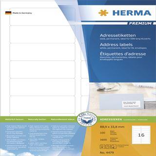 Herma 4479 Premium Adressetiketten 8.89x3.8 cm (100 Blatt (1600