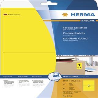 Herma 4496 gelb Universal-Etiketten 19.96x14.35 cm (20 Blatt (40