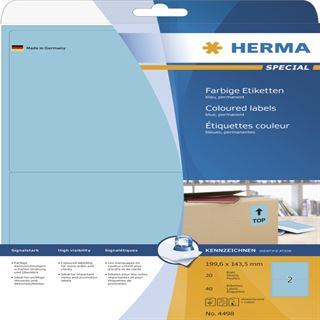 Herma 4498 blau Universal-Etiketten 19.96x14.35 cm (20 Blatt (40 Etiketten))