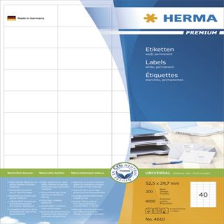 Herma 4610 Premium Universal-Etiketten 5.25x2.97 cm (200 Blatt (8000