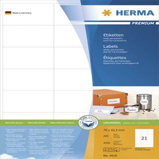 Herma 4616 Premium Universal-Etiketten 7.0x4.23 cm (200 Blatt (4200
