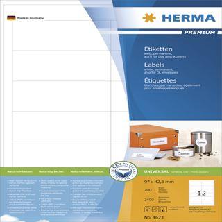 Herma 4623 Premium Universal-Etiketten 9.7x4,23 cm (200 Blatt (2400