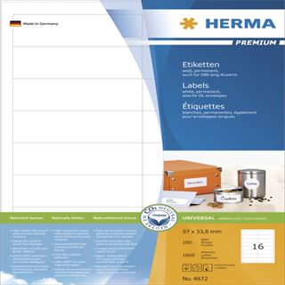 Herma 4672 Premium Universal-Etiketten 9.7x3.38 cm (100 Blatt (1600 Etiketten))