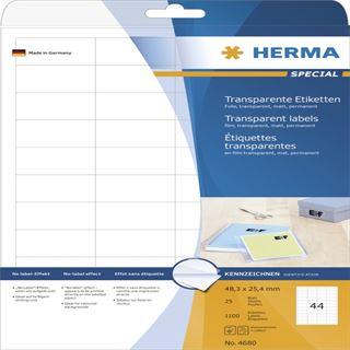 Herma 4680 Folie Transparent-Etiketten 4.83x2.54 cm (25 Blatt (1100