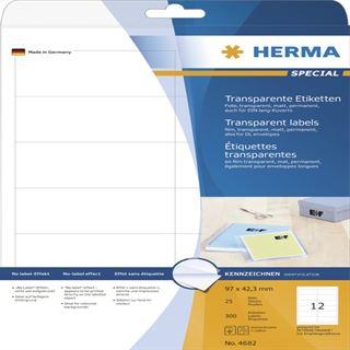 Herma 4682 Folie Transparent-Etiketten 9.7x4,23 cm (25 Blatt (300 Etiketten))