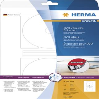 Herma 4699 DVD-/Blu-ray.Etiketten 1.6x1.6 cm (25 Blatt (50 Etiketten))