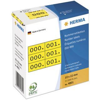 Herma 4801 gelb/schwarz selbstklebend 3fach Nummernetiketten 1x2.2 cm