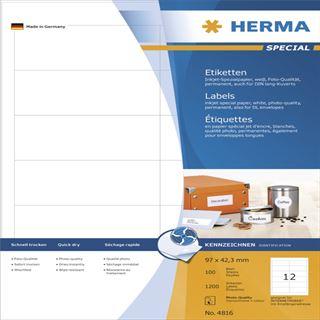 Herma 4816 Inkjet-Etiketten 9.7x3.38 cm (100 Blatt (1200 Etiketten))
