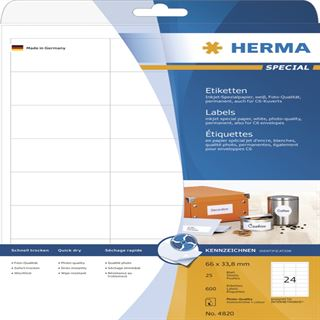 Herma 4820 Inkjet-Etiketten 6.6x3.38 cm (25 Blatt (600 Etiketten))