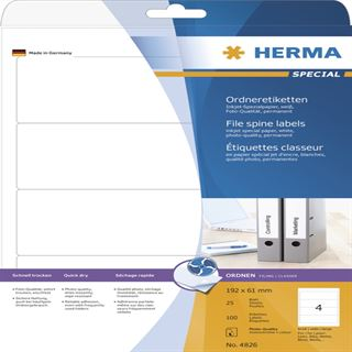 Herma 4826 Inkjet-Ordneretiketten 19.2x6.1 cm (25 Blatt (100 Etiketten))
