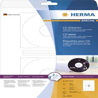 Herma 4849 CD-Etiketten 11.6x11.6 cm (25 Blatt (50 Etiketten))
