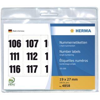 Herma 4858 schwarz selbstklebend Nummernetiketten 1.9x2.7 cm (100 Stück (101-200))