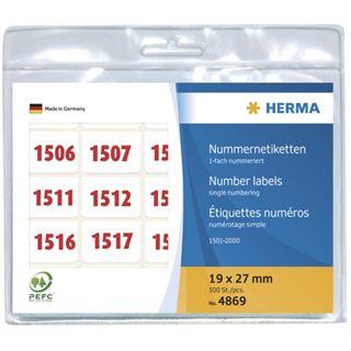 Herma 4869 rot selbstklebend Nummernetiketten 1.9x2.7 cm (500