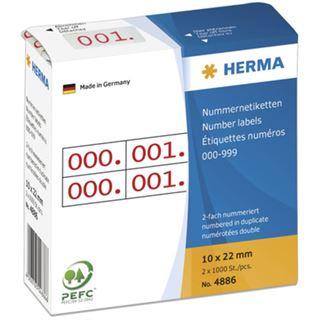 Herma 4886 rot selbstklebend doppelt Nummernetiketten 1x2.2 cm (2000