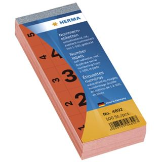 Herma 4892 selbstklebend rot Nummernblock-Etiketten (500 Stück (1-500))