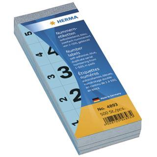 Herma 4893 selbstklebend blau Nummernblock-Etiketten 2.8x5.6 cm (500
