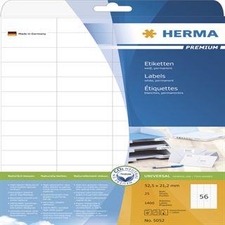 Herma 5052 Premium Universal-Etiketten 5.25x2.12 cm (25 Blatt (1400