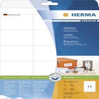 Herma 5055 Premium Universal-Etiketten 7x5.08 cm (25 Blatt (375 Etiketten))