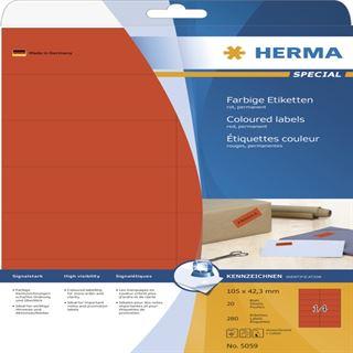 Herma 5059 rot Universal-Etiketten 10.5x4.23 cm (20 Blatt (280