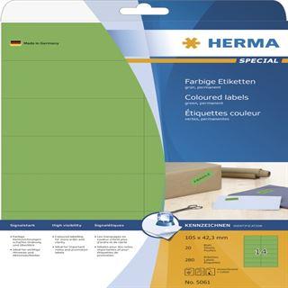 Herma 5061 grün Universal-Etiketten 10.5x4.23 cm (20 Blatt (280 Etiketten))