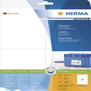 Herma 5063 Premium Universal-Etiketten 10.2x14.8 cm (25 Blatt (100 Etiketten))