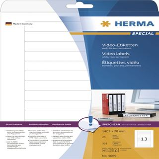 Herma 5069 Video-Etiketten 14.73x2 cm (25 Blatt (325 Etiketten))