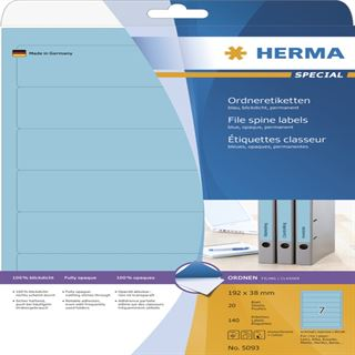 Herma 5093 blickdicht blau Ordneretiketten 19.2x3.8 cm (20 Blatt (140 Etiketten))