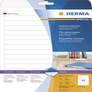Herma 5118 Ordneretiketten 19.2x1.69 cm (25 Blatt (400 Etiketten))