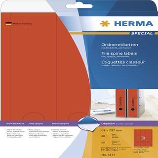 Herma 5137 blickdicht rot Ordneretiketten 6.1x29.7 cm (20 Blatt (60 Etiketten))