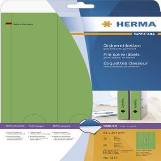 Herma 5139 blickdicht gruen Ordneretiketten 6.1x29.7 cm (20 Blatt (60 Etiketten))