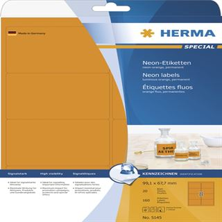 Herma 5145 neon-orange Universal-Etiketten 9.91x6.67 cm (20 Blatt (160 Etiketten))