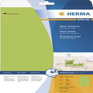 Herma 5151 neon-grün Universal-Etiketten 21.0x29.7 cm (20 Blatt (20 Etiketten))