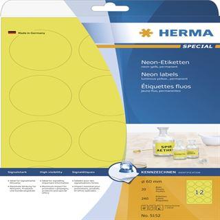 Herma 5152 neon-gelb rund Universal-Etiketten 6.0x6.0 cm (20 Blatt (240 Etiketten))