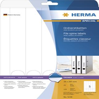 Herma 5158 blickdicht Ordneretiketten 3.4x29.7 cm (25 Blatt (125 Etiketten))