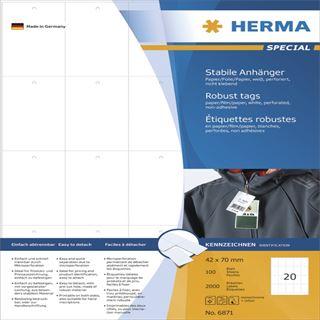 Herma Anhäng. reißfest A4 42x70 mm weiß perforiert