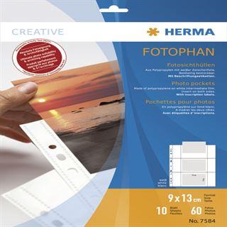 Herma Fotosichthüllen 90 x 130 mm quer weiß 10 Hüllen