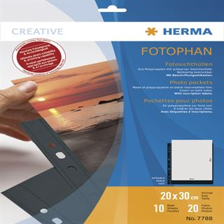 Herma Fotosichthüllen 200 x 300 mm hoch schwarz 10 Hüllen