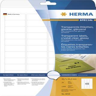 Herma 8016 glasklar folie Universal-Etiketten 4.57x2.12 cm (25 Blatt