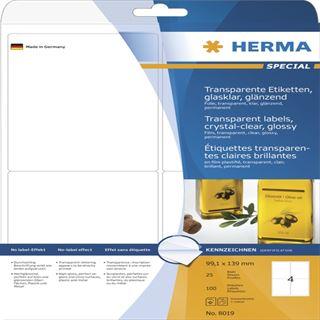 Herma 8019 glasklar Universal-Etiketten 9.91x1.39 cm (25 Blatt (100 Etiketten))