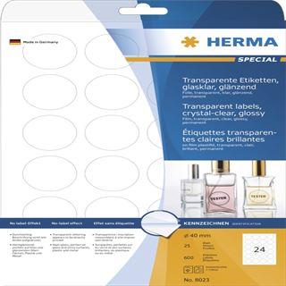 Herma 8023 glasklar rund folie Universal-Etiketten 4x4 cm (25 Blatt