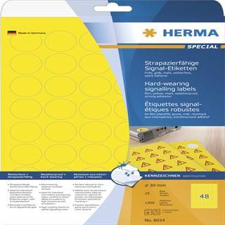 Herma 8034 strapazierfähig gelb rund Signal-Schilder 3.05x1.69