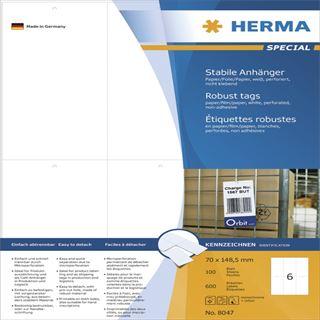 Herma 8047 perforiert nicht klebend Stabile Anhänger 7x14.85 cm