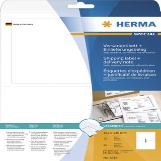 Herma 8316 blickdicht Versand-Etiketten plus Einlieferungsbeleg